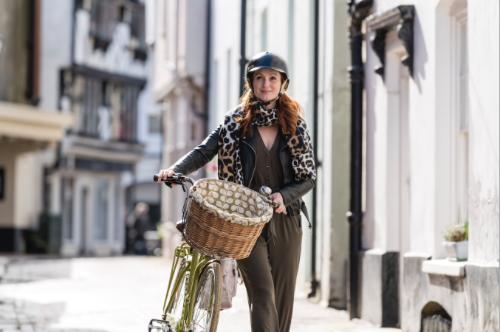 woman with bike