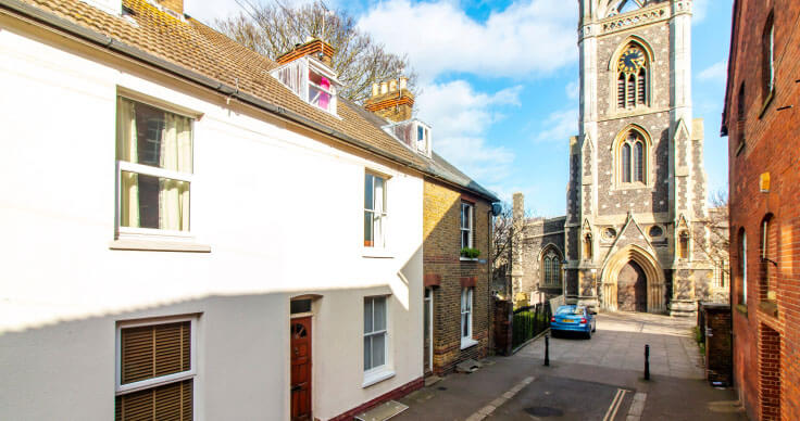 street near St Mary of Charity Church, Faversham, Kent